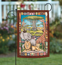 NEW Toland - Savanna Social - Colorful Tribal Africa Zoo Animal Garden Flag