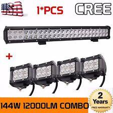 23INCH 144W CREE Combo Beam WORK DRIVING LED LIGHT BAR 12V 24V+4x 4inch 18W Pods