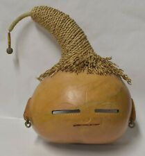 Gourd Face Folk Art Carved Mixed Media Rope Signed