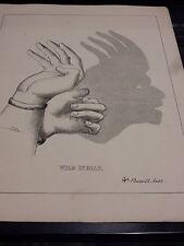 Marioneta de sombras de mano Victoriano nativo americano 1880 S Original Placa de 19 X 24 Cm