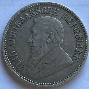 SOUTH AFRICA 1896 2 1/2 SHILLINGS SILVER COIN VF KM7