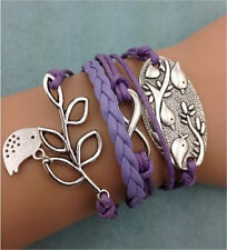 NEW Purple Infinity Birds Tree leaf Leather Charm Bracelet plated Silver DIY B35