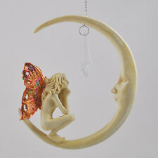LARGE Fairy Princess On Moon Praying Dream Catcher Chain Sculpture Statue 01508