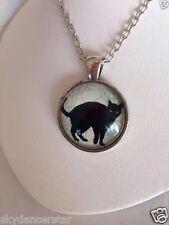 BLACK CAT WEB SILHOUETTE CHAIN NECKLACE PENDANT JEWELRY Silver-tone Cat Resq