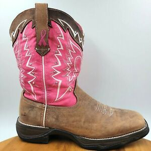 """Durango Lady Rebel Breast Cancer 10"""" Leather Western Cowboy Boots Women's 9.5 M"""