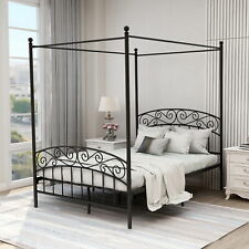 New listing Full Metal Bed Frame Canopy Four Poster Platform With Strong Steel Slat Support