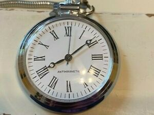 Working Vintage Silver Tone Pocket Watch Wind Up WORKS With Chain AntiMagnetic