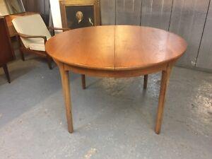 Nathan Mid Century Vintage Teak Danish Style Extending Round Dining Table  M4189