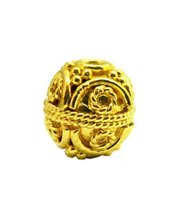 16 PCS 8MM SOLID COPPER BALI BEAD 18K GOLD PLATED  24 HKJ-148