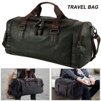 Men Leather Holdall Travel Gym Duffle Sports Handbag Cabin Weekend Duffel Bag UK