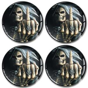 4 Silicone 3D Domed Skull Tattoo Stickers For Car Wheel Centre Hub Center Caps