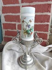 ANTIQUE VICTORIAN CHERUB SILVER PLATE HOLDER PAINTED VIOLETS ART GLASS VASE
