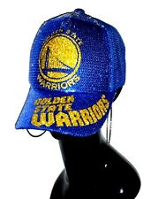 Golden State Warriors Blue Glitz Sequin Adjustable Cap/Mesh Backing~Shiny Ltrng!