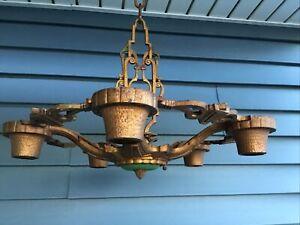 Vintage / Antique 5 Light - Cast Iron Ceiling Chandelier / Art Deco / Gold