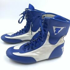 Title Boxing Shoes 8 Lace Up Blue White Athletic MMA Martial Arts ** Scuffs **