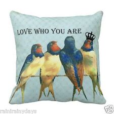 """Love Who You Are, 16"""" x 16"""" pillow, featuring artwork by Lisa Casineau"""