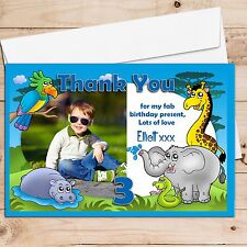 10 Personalised Boys Girls Jungle Animals Birthday Thank you PHOTO Cards N112