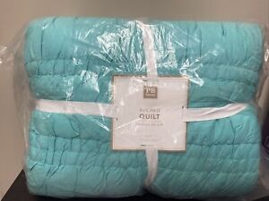 NEW Pottery Barn Teen Ruched TWIN  Quilt TEAL