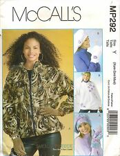 McCalls Sewing Pattern MP292 Misses Unlined Jacket Hats Mittens Size Xsm-Med