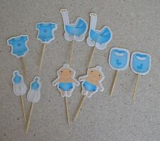 Baby boy Cupcake toppers 10 pieces for baby shower cake or table decoration