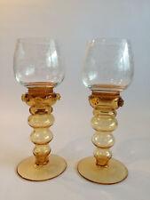 2 x alte Weinrömer Römer Glas handbeschliffen Hohlbaluster braun