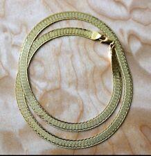 Stunning 14kt Yellow Gold Herringbone Necklace / Textured - Reversible - 12.8g