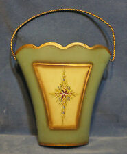 """Vintage Metal Wall Pocket Green & Creme with Gold & Purple Flower 7"""" x 10 1/2"""""""