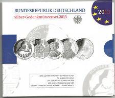 10 Euro Silber Gedenkmünzen Set 2013, spiegelglanz, PP