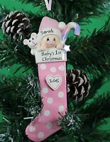 Personalised Baby's 1st  Christmas tree Ornament - Baby Girl in Pink Stocking