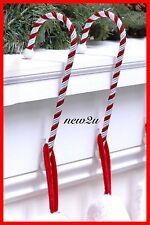 2X Candy Cane Christmas Xmas  Stocking Holders - Hangers Hooks