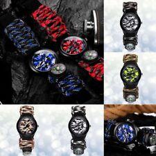 Outdoor Survival Watch Paracord Compass Wrist Watch Men's Climbing Sport Watches