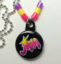 """**JEM** Holograms Necklace 1"""" Button Pendant On Chain ~~USA Seller"""