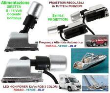 KIT N.4 FARETTO REGOLABILE con LED RGB a 3 COLORI AUTOMATICI 12V BARCA e CAMPER