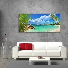 Wall Art Glass Print Picture Unique Beach Coast Sea Rest Palm Gift  (cm) 125x50
