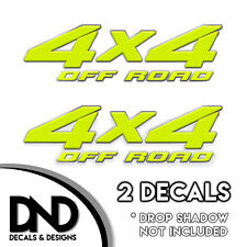 4x4 Off Road Decals 2 Pk Sticker for Ford Chevy Sierra truck - Bright Yellow D&