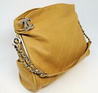 Chanel Handbag Leather Tan Camel Shoulder Bag with Silver Hardware Hobo Quilted
