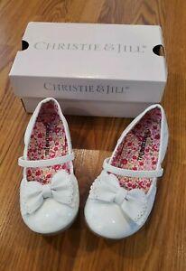 Girls Christie & Jill White Patent Leather Ballet Flats Size 10