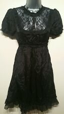 Size 6 Dress MISS SELFRIDGE Black Vintage Style Lace Gothoic Excellent Condition