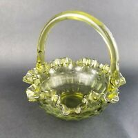 Vintage Fenton Avacado Green Glass Basket Ruffled Thumbprint Crimped