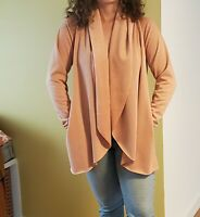 Drew Anthropologie Peach Open Front Waterfall Cardigan Sweater Size S $184