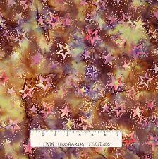 Batik Textiles Fabric - Stars on Brown & Mustard - Quilt Cotton YARD