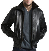 Men's Black Lambskin Leather Bomber Jacket Zip out Liner XL  2X  3X