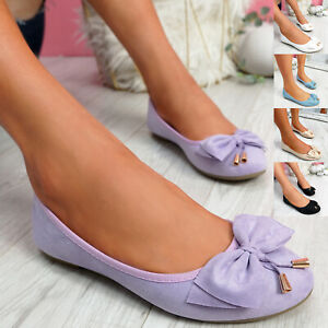WOMENS LADIES SLIP ON BALLERINAS DOLLY FLAT BOW PUMPS BALLET WOMEN SHOES SIZE UK