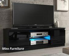Modern TV Unit  Cabinet Stand Black Matt and Black High Gloss Doors + LED FREE