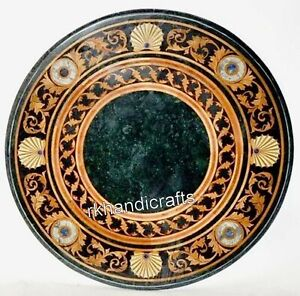 24 Inches Round Sofa Table Top Green Marble Coffee Table with Luxurious Pattern