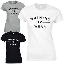 Crew Neck Patternless Slogan T-Shirts for Women