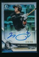 NICK MADRIGAL AUTO 1st 2018 Bowman Chrome Autograph REFRACTOR #/499 Rookie RC