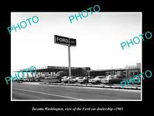 OLD LARGE HISTORIC PHOTO OF TACOMA WASHINGTON, THE FORD CAR DEALERSHIP c1965