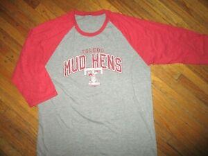TOLEDO MUD HENS T SHIRT Retro Ringer Raglan Sleeve Jersey Tee Adult SMALL/MEDIUM