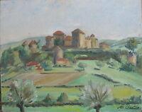 Dipinto a Olio Berzé-le-châtel° Département Saona e Loira Borgogna Autografato